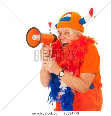 Senior female Dutch soccer supporter isolated over white background