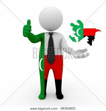 3d people Meskhetian Turks - map flag of Azerbaijan-Meskhetian Turks.