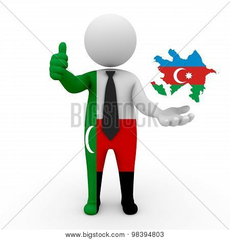 3d people Meskhetian Turks - map flag of Azerbaijan. Meskhetian Turks in Azerbaijan