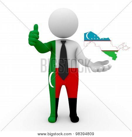 3d people Meskhetian Turks - map flag of Uzbekistan. Meskhetian Turks in Uzbekistan