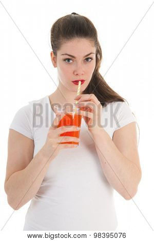 Girl drinking glass lemonade with straw isolated over white background