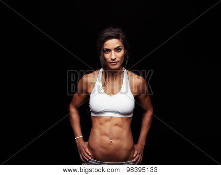 Confident Fitness Woman Wearing Sport Bra