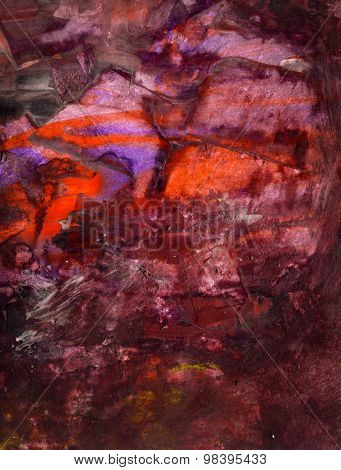 Abstract Watercolor  background or texture created  with multiple layers of  mixed media elements.