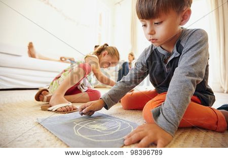 Children Drawing And Coloring At Home