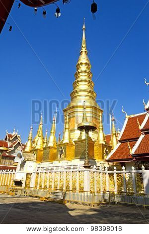 Gold Sharp Pagoda With Sunshine