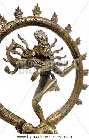 Statue Of Indian Hindu God Dancing Shiva Nataraja. Fragment. Isolated On White