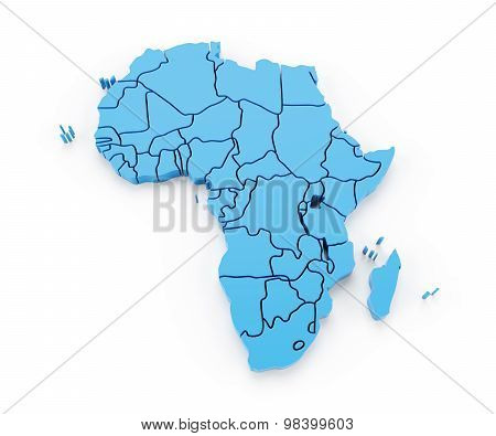 Map of Africa with national borders