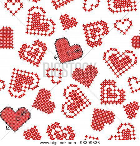 Abstract texture of hearts