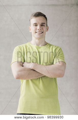 sport, fitness, lifestyle and people concept - smiling man in gym