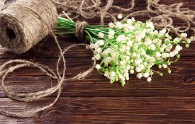 picture of coil  - lilies of the valley and a coil of rope on brown wooden background - JPG