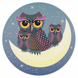 picture of owls  - Mother owl and two baby owls sitting on the crescent moon - JPG