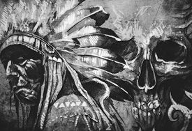 foto of indian chief  - Tattoo sketch of American Indian tribal chief with skull - JPG