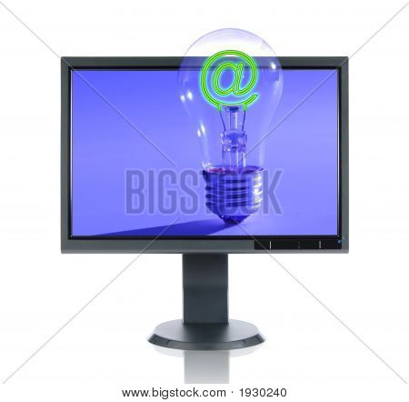 Lcd Monitor And Light Bulb
