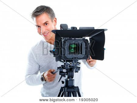 Handsome man with camcorder support. Isolated over white background