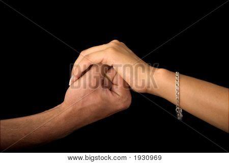 Ladies Hand Restraining Mans Hand