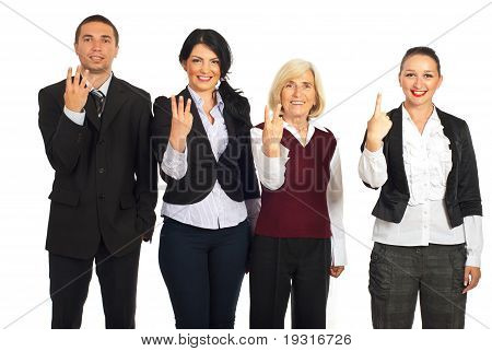 Business People Showing Counting Fingers