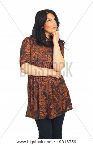 Casual Woman Looking Up To Copy