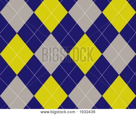 Blue, Grey And Yellow Argyle