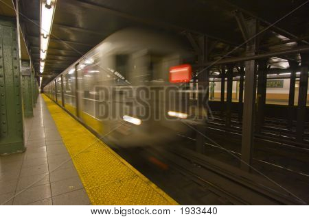 New York Subway Speeding By A Platform