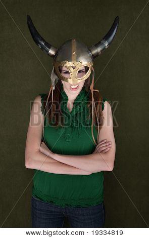 Woman In Viking Helmet