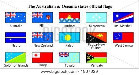 Australia & Oceania States Oficial Flags.Eps