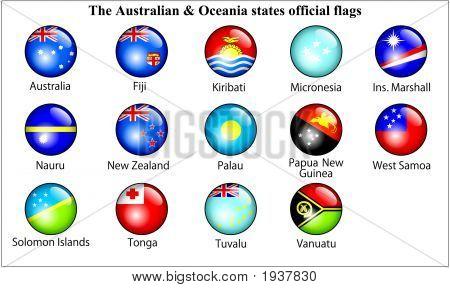 Australia & Oceania States Oficial Flags Glossy.Eps