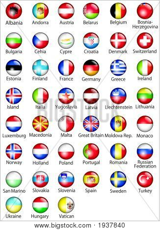European States Oficial Flags Glossy Buttons.Eps