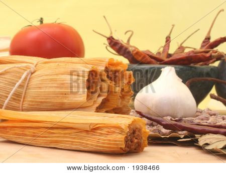 Tamales On Yellow Background