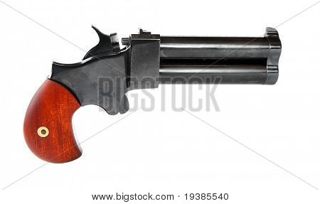 An 2 shot .45 cal percussion derringer hand gun isolated on white background.