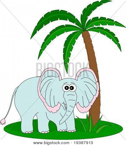 Elephant under the palm