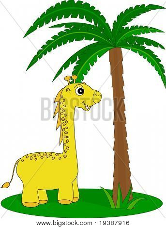 giraffe under the palm
