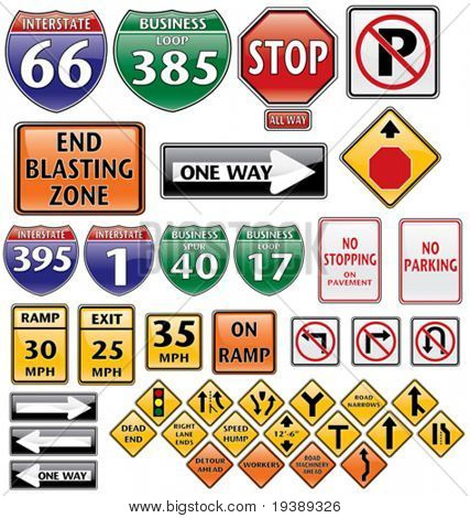 vector collection of road signs volume one