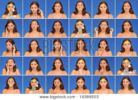 Collection of thirty different beautiful woman expressions and activities