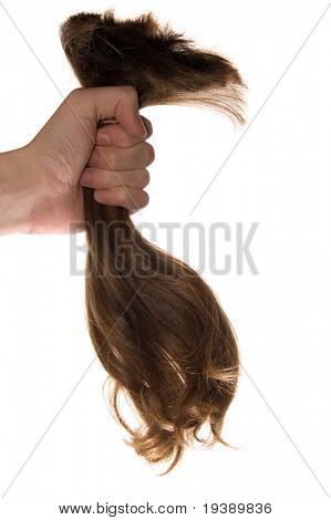 A lock of hair in a hand