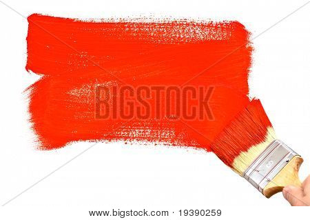 Painting the white wall with red paint