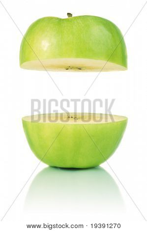 Two parts of apple with copyspace between