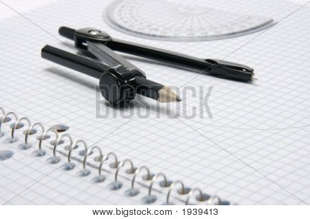 Compas And Protractor On Graph Paper