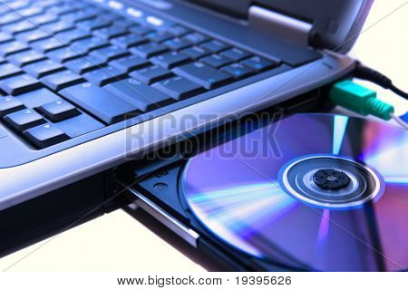 laptop with a disk dvd