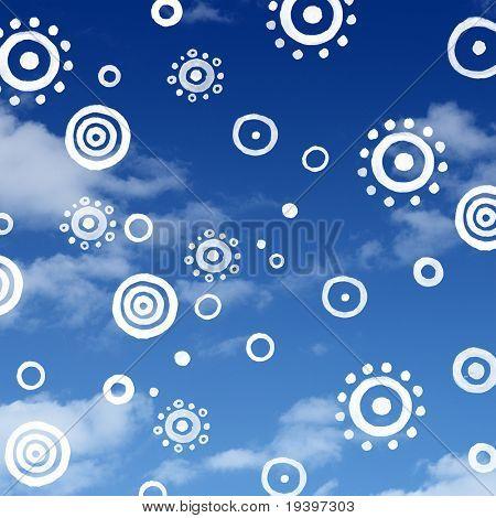 Rolled sun on bluesky pattern background