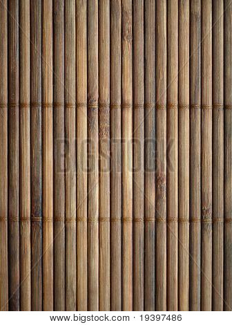 Bamboo mat surface vertical background. Closeup.
