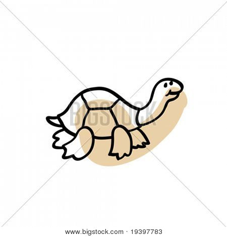 Turtle. Zoo figure adapted for the child's perception on white background.