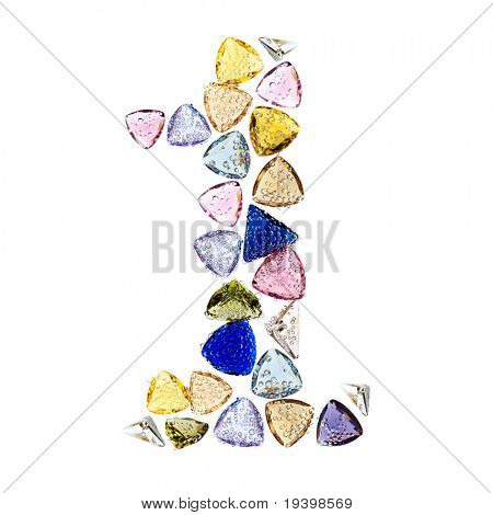 Gemstones numbers collection, figure 1. Isolated on white background.