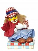 foto of clown rose  - sweet box with figurine of clown and red rose - JPG