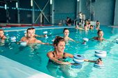 Aqua aerobics, healthy lifestyle, water sport poster