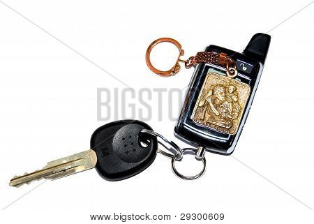 Keychain With A Car Key And The Image Of St. Christopher - Patron Saint Of Drivers.