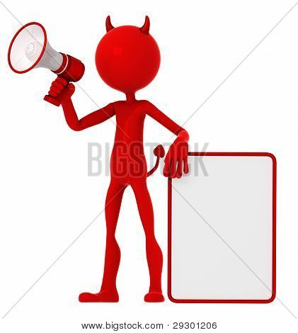 Devil Holding A Blank Sign And Shouting Through A Megaphone