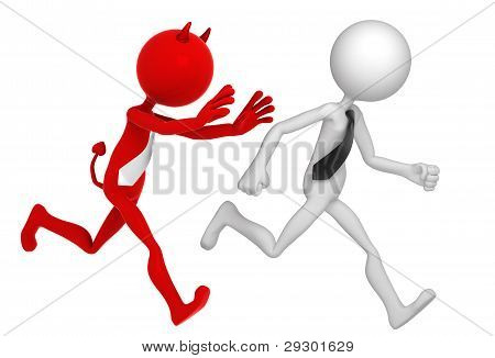Businessman Running Away From Businessdevil