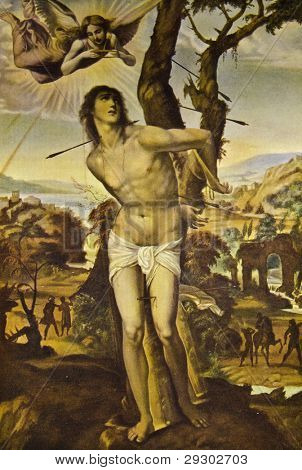 "Sodoma ""Saint Sebastian"". Reproduction from illustrated Encyclopedia «Art galleries of Europe», Partnership «M. O. Wolf», St. Petersburg - Moscow, Russia , 1901"