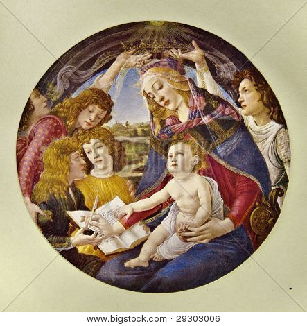 """Sandro Botticelli """"Magnificat Madonna"""". Reproduction from illustrated Encyclopedia «Art galleries of Europe», Partnership «M. O. Wolf», St. Petersburg - Moscow, Russia , 1901"""