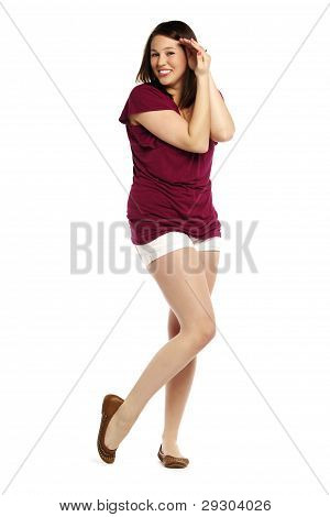 Portrait Of A Cheerful And Shy Young Woman Isolated